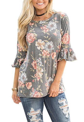 (Relipop Summer Women's Fashion Casual 3/4 Sleeve Floral Print Tunic Blouses Tops Shirt (Small, Gray) )
