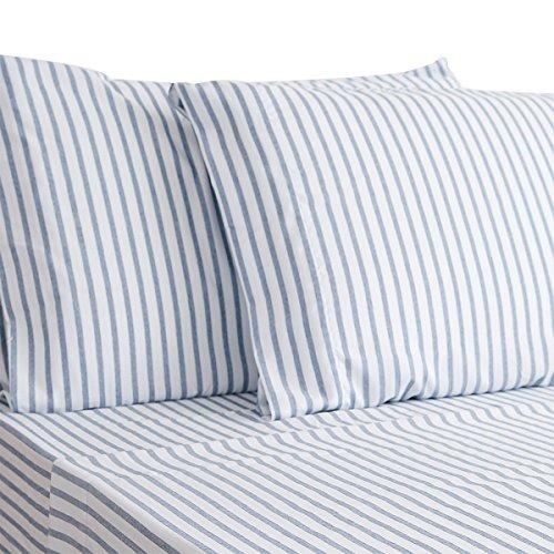 HONEYMOON HOME FASHIONS Queen Sheet Set Cotton Quality Dimension Yarn - Dyed Blue (Blue Stripe Sheet)