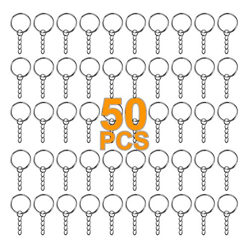50 PCS Split Key Ring with Chain 25mm Open Jump Ring Durable Key Chain Parts and Connector, Silver