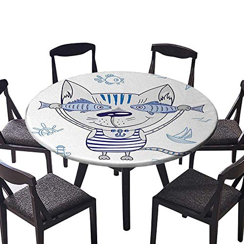 (Modern Table Circle Cloth Naughty Cat with Fish in Striped T Shirt Anchor Pendant and Nautical Indoor or Outdoor Parties 47.5