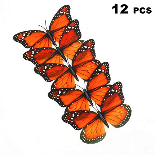 Artificial Ornaments (AQUEENLY Monarch Butterfly Decorations, 4.72'' Orange Premium Artificial Monarch Butterfly to Decorate for Craft, Home, Wall, Wedding, Party (12 Pcs))