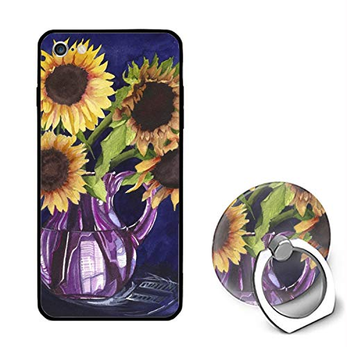 - iPhone 6/6s Case Ring Bracket,Personalized Sunflowers Purple Pitcher Art for Real Floral Print PC Cellphone Case
