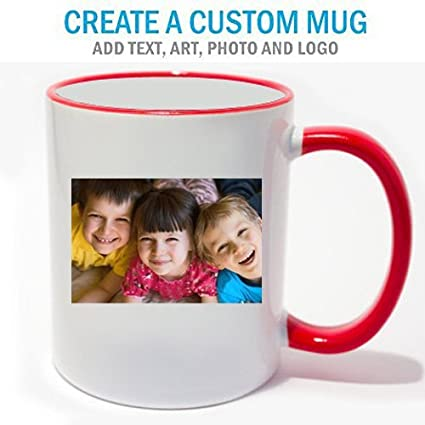 amazon com personalized coffee photo mug red trim kitchen dining
