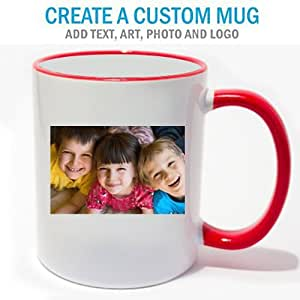 Personalized Coffee Photo Mug Red Trim
