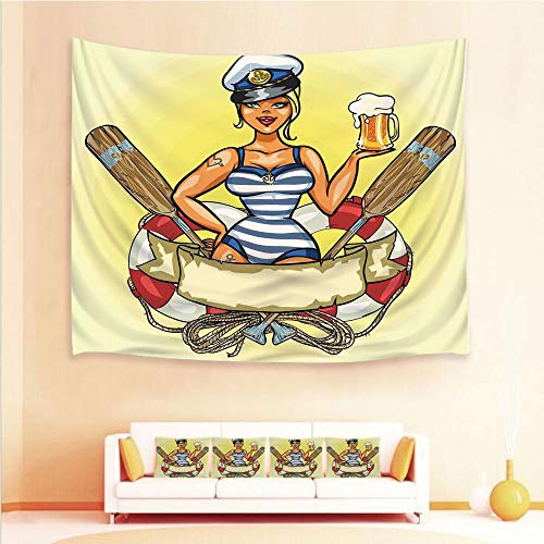 iPrint 1pcs Hanging Tapestry 4pcs Pillow case,Wall Hanging Blanket Beach Towels Picnic Mat Home Decor,Lifebuoy Captain Hat Costume Glass,3D Printed Tapestry Bedroom Living Room