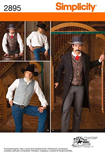 Simplicity 2895 Wild West Cowboy Sewing Pattern for Adult Men Halloween Costumes by Buckaroo Bobbins Pattern, Sizes 46-52
