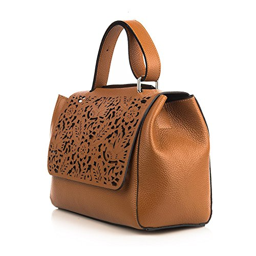 leather handbag tote bag ARIANNA perforated grained shoulder leather Italian bordeaux flap PTn1wq7