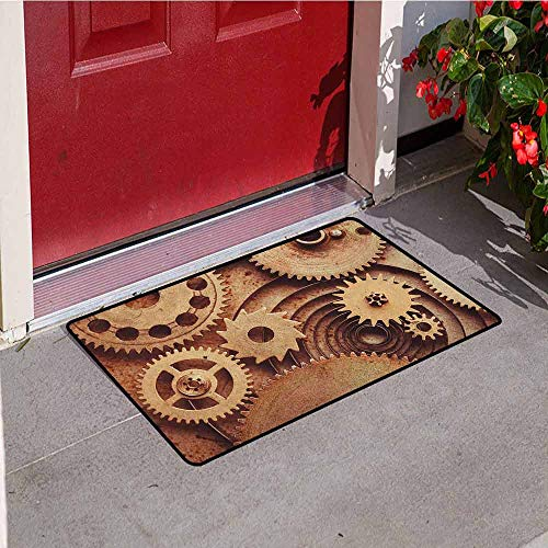 Gloria Johnson Industrial Inlet Outdoor Door mat Inside The Clocks Theme Gears Mechanical Copper Device in Steampunk Style Print Catch dust Snow and mud W19.7 x L31.5 Inch Cinnamon
