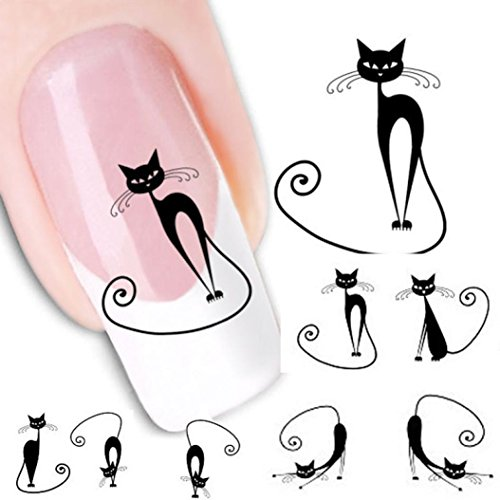 ❤️ ❤JPJ(TM) Women Nail Stickers,Beauty Girls Fashion Sexy Charming Nail Stickers,Cat Water Design Decals,Nail Art Stickers,Transfer Slide Decal Sticker Nail Art Tips to Decor (Black) for $<!--$0.01-->