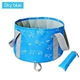 Collapsible Bucket by KSANA 10L Portable Multifunctional Folding Travel Outdoor Wash Basin for Camping Hiking Travelling Fishing Washing  (Sky Blue)