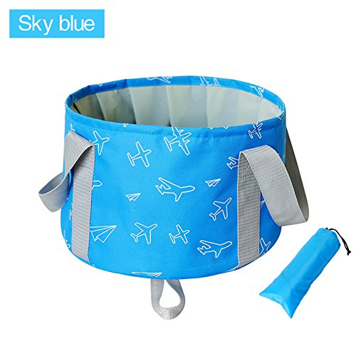 Collapsible Bucket by KSANA 10L Portable Multifunctional Folding Travel Outdoor Wash Basin for Camping Hiking Travelling Fishing Washing  (Sky Blue) by KSANA