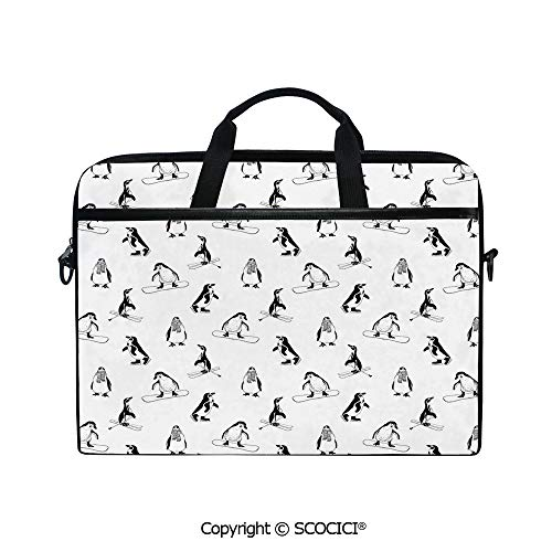 Portable Ultrabook Soft Sleeve Laptop Bag Case Cover Skiing Penguins on Snowboards Winter Sports Themed Pattern Fun Animal Bird with Scarf Compatible with HP Dell Lenovo ()