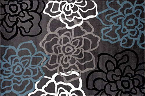 Contemporary Rug Rectangular Flowers (Rugshop Contemporary Modern Floral Flowers Area Rug, 2' x 3', Gray)