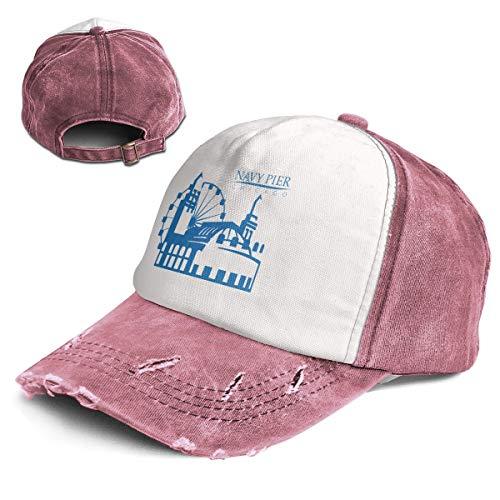 Navy Pier Chicago Top Level Unisex Quick Dry Sun Cap Outdoor Sports Baseball Caps Classic Adjustable Plain Hat