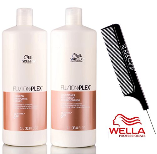 Wella FUSION PLEX Intense Repair Shampoo & Conditioner DUO SET (with Sleek Steel Pin Tail Comb) (33.8 oz / 1 Liter - LARGE DUO Kit) ()