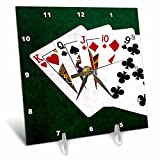 3dRose Alexis Photo-Art - Poker Hands - Poker Hands Straight King to Nine - 6x6 Desk Clock (dc_270317_1)