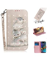 Strap 3D Wallet Case for LG K50,Aoucase Ultra Slim Fancy Painted Magnetic Soft Silicone Card Slot Stand PU Leather Case with Black Dual-use Stylus - Cute Squirrel