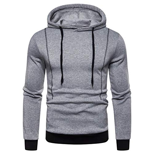 iLXHD Men Long Sleeve Shirt Autum Winter Long Sleeve Hooded Sweatshirt Printed Outwear Tops Blouse Gray