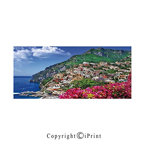 Italy Large Premium Quick Dry Cotton & Microfiber Bath Towel,Scenic View of Positano Amalfi Naples Blooming Flowers Coastal Village Image,for Travel Sports & Beach,W70.8 x L31.4 Pink Green Blue