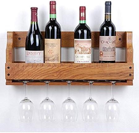 Estante De Vino De Vidrio Colgante Estante De Vino De Pared Estante De Vino De Madera Maciza De Roble Estante De Vino De Estilo Europeo Comedor De Sala De Estar-55 Cm 6 Vinotecas Copas De Vino