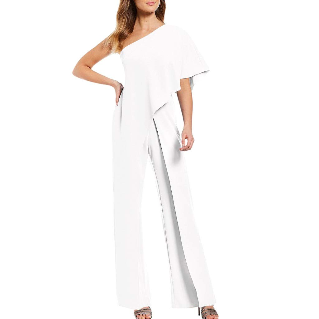 Corriee 2019 Gift Ladies Party Jumpsuit One Shoulder Solid Color High Waisted Wide Leg Long Romper Loose Playsuit White