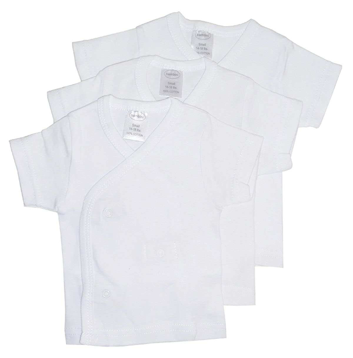 Bambini White Side Snap Short Sleeve Shirt - 3 Pack 075 S