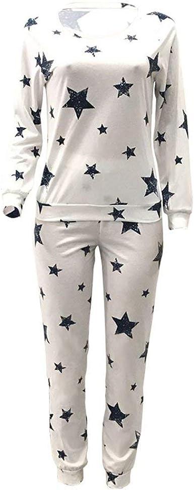 Pijama Mujer Elegantes Manga Larga O Cuello Estampadas ...