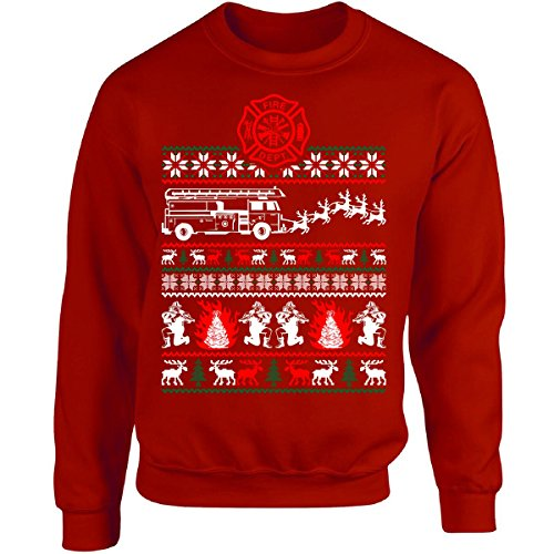 Christmas Firefighter Fireman Ugly Sweater Xmas - Adult Sweatshirt Xl Red (Cheap Firefighter Gifts)