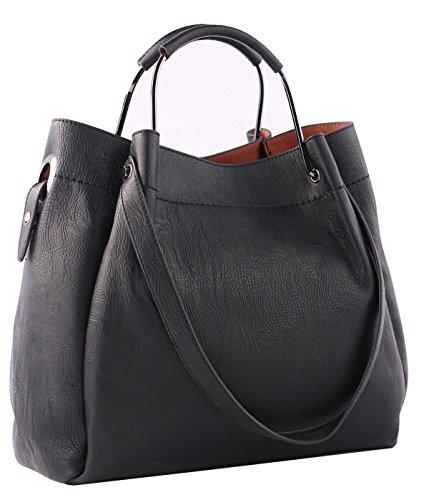 3-Way Multifunctional Versatile Tote Hobo Designer Handbags for Women 2 Pieces Faux Leather Satchel Shoulder Bag Crossbody (Black)