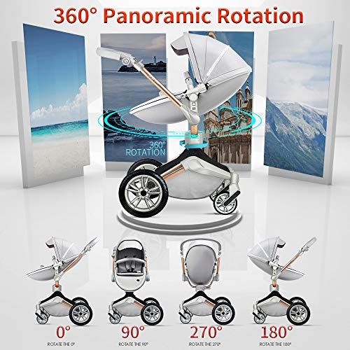 51s0Ipn3kdL - Baby Stroller 360 Degree Rotation Function,Hot Mom Baby Carriage Pu Leather Pushchair Pram 2020,Grey