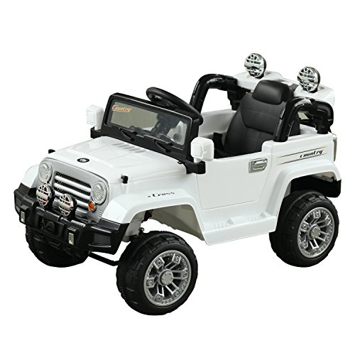 Aosom 12V Kids Electric Battery Powered Ride On Toy Off Road Car Truck w/ Remote Control - White