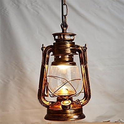 Injuicy Lighting Loft Vintage Industrial E27 Edison Barn Lantern Iron Glass Kerosene Oil Pendant Lamps Lights Fixtures Antique Metal Droplights for Aisle Dining Room Cafe Bar Decoration(Copper)