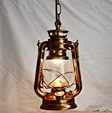 Injuicy Lighting Loft Vintage Industrial E27 Edison Barn Lantern Iron Glass Kerosene Oil Pendant Lamps Lights Fixtures Antique Metal Droplights for Aisle Dining Room Cafe Bar Decoration(Copper)