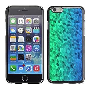 FECELL CITY // Duro Aluminio Pegatina PC Caso decorativo Funda Carcasa de Protección para Apple Iphone 6 Plus 5.5 // Pattern Green Blue Uniform