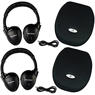 Sale Off Two Wireless 2 Channel Fold Flat Infrared Rear Entertainment System DVD Player IR Headphones For In Car Listening With Case and 3.5mm Auxiliary Cord. Will Not Work on 2019+ GM's or Pacifica