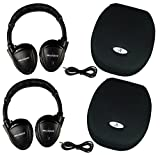 Two Wireless 2 Channel Fold Flat Infrared Rear Entertainment System DVD Player IR Headphones For In Car Listening With Case and 3.5mm Auxiliary Cord