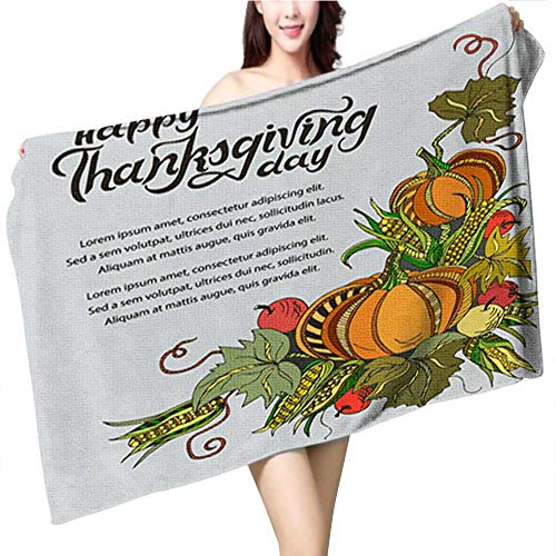 Dragonhome Cotton Craft Beach Towel Thanksgiving Autumn Fall Sale Banner Flyer Card Poster Holiday Birthday Invitation Card Template wit Highly Absorbent Towel Size:39.4 x 19.7 INCH