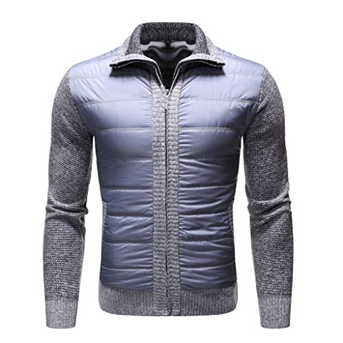 Sunhusing Men's Zip Stitching Lapel Solid Color Long Sleeve Pocket Patchwork Cardigan Sweater Jacket Outwear Gray (Best Clothing Websites For Black Friday)