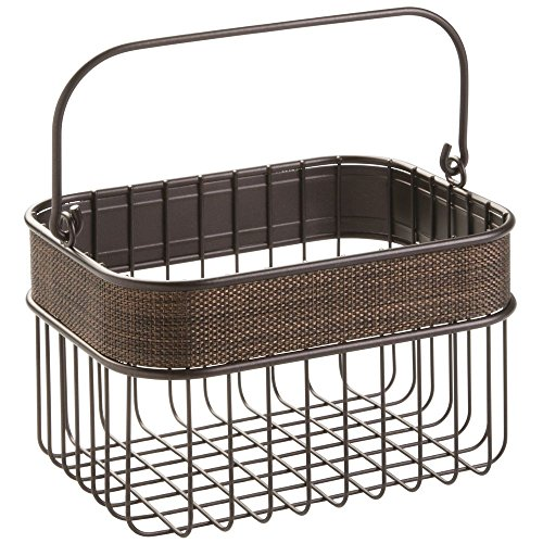 InterDesign Twillo Bathroom or Kitchen Wire Oganizer Basket with Handle, Bronze