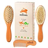 Quality Wooden Baby Hair Brush Set - Premium Brushes and Comb by Natemia - Natural Soft Bristles - Perfect Baby Registry Gift