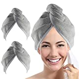 YoulerTex Microfiber Hair Towel Wrap for Women, 2 Pack 10 inch X 26 inch, Super Absorbent Quick Dry Hair Turban For Drying Curly, Long & Thick Hair(Gray)