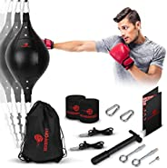 Double End Bag Boxing Set - Double Ended Punching Ball - Speed Striking Reflex Kit with Fully Adjustable Cords