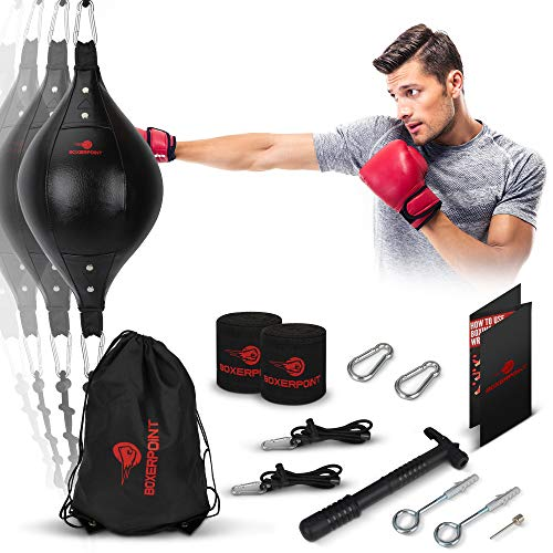 Double End Bag Boxing Set – Double Ended Punching Ball – Speed Striking Reflex Kit with Fully Adjustable Cords – PU…