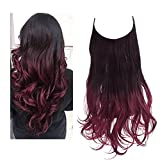 SARLA Ombre Halo Hair Extensions Long Wavy Curly Synthetic Hair Piece for Women Black to Wine Adjustable Size Transparent Wire Headband Heat Friendly Fiber 22 Inch 5.3 Oz No Clip