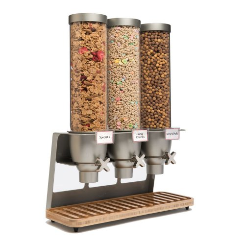 Rosseto EZ547 EZ-SERV Triple Container Table-Top Cereal Dispenser with Bamboo Tray, 3.9-Gallon Capacity, 9