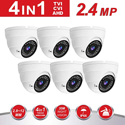 Cheap 2.4MP Security Dome Camera(6pack), Anpvees HD 5X 1080P 5MP/4MP/2.4MP 4-in-1 TVI/CVI/AHD/CVBS Security Cameras, 2.8-12mm Manual Varifocal Lens Waterproof Outdoor Surveillance Camera (AC3222-W-6pack)