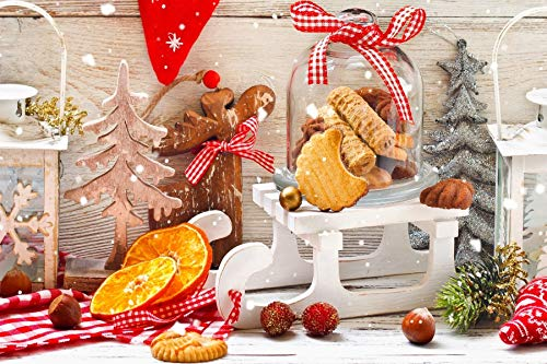 (Leyiyi 10x8ft Photography Background Merry Christmas Backdrop Happy New Year Xmas Tree Pine Checkered Flag Reindeer Elk Cookie Gingerbread Sleigh Orange Winter Hoiday Photo Portrait Vinyl Studio Prop)