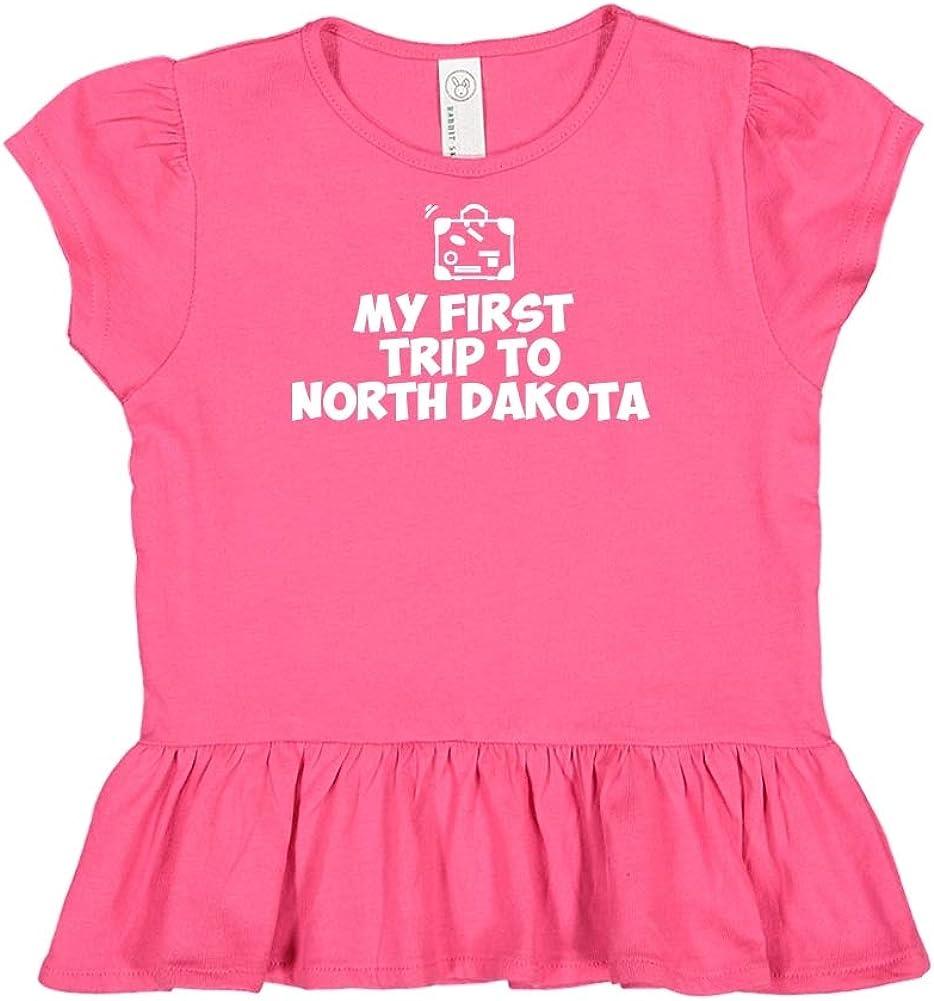 My First Trip to North Dakota Toddler//Kids Ruffle T-Shirt