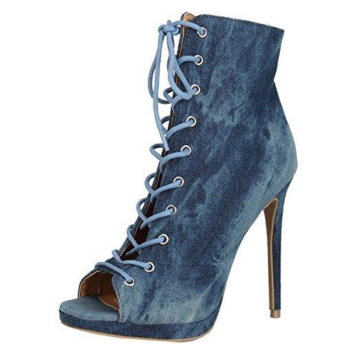 Wild Diva Womens Open Peep Toe Wase Denim Lace Up Stiletto Heel Platform Ankle Booties Boot 9 Blue Denim