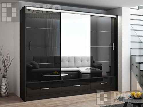 best value 15090 e41da Wardrobe Sliding Door Mirror MARSYLIA Black Gloss - 8.2 Ft / 250cm Width